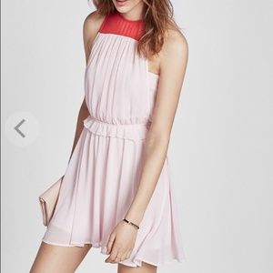 New Express Color Block Ruffle Mini Dress - S